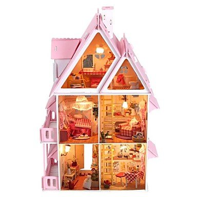 CLCJW Kreative Beleuchtung,DIY Holz Puppenhaus beinhaltet alle Traumvilla Möbel