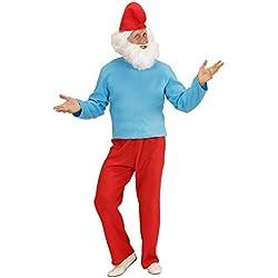 Travestimento Grande Puffo vestito taglia costume comico adulto gnomo bosco Carnevale nano - M 50/52