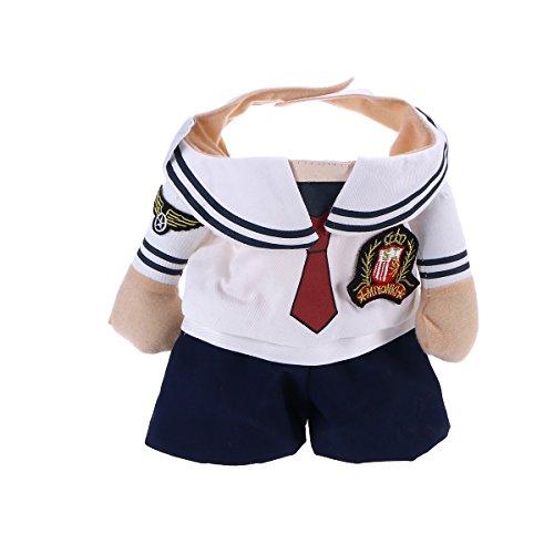 (POPETPOP Hundekostüm verstellbar und leicht zu tragen Marine Anzug mit Matrosenhut für Hunde Welpen Katze Kätzchen (Größe XL))