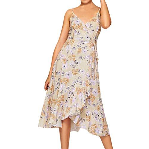 Sonojie Frauen Sexy Printing Bow Sleeveless V-Ausschnitt Langes Kleid Princess Dress