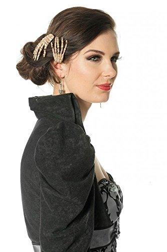 shoperama 2 Halloween Haarclips mit Skelett-Hand Haarschmuck Haarklammer Haar-Spange Kostüm-Zubehör (Skelett Hände Kostüm)
