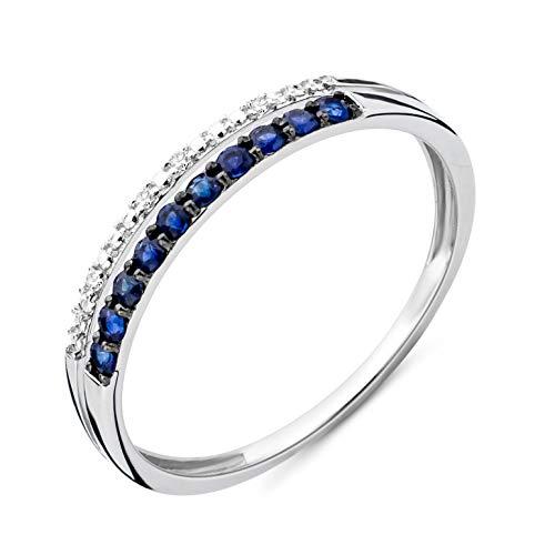 Miore Ring Damen doppelreihiger Diamant Ewigkeitsring Weißgold 9 Karat / 375 Gold mit Edelsteine blauer Saphir 0.19 Ct und Diamanten Brillanten, Schmuck (Damen Diamant Ring Weißgold)