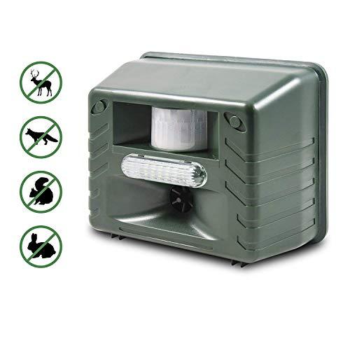 ASPECTEK Ultraschall Tiervertreiber - mit Stoboskopblitz und Raubiergeräusch-Funktion - wetterfest- vertreibt wirksam Ratten, Füchse und andere Wildtiere (Grün)