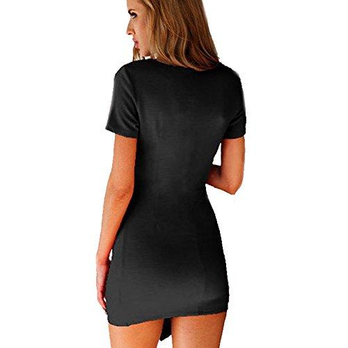 Etosell Femmes Manches Courtes Col V Slim Mini Robe Noir