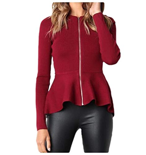 CuteRose Womens Classic Solid Color with Zips Peplum Skinny Jacket Coats Wine Red S Tall Classic Peacoat