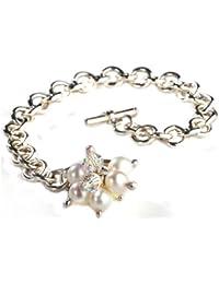 Jane Davis Sterling Silver Handmade Heart 20cm Bracelet with Garnet DI5OZiLCTs