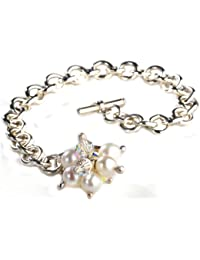 Jane Davis Sterling Silver Handmade Heart 20cm Bracelet with Garnet