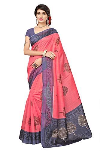 Fabwomen Women\'s Cotton Silk Saree with Blouse Piece, Free Size (Pink)