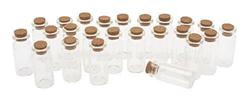 Preisvergleich Produktbild 24 Glasröhrchen mit Korken Glasflaschen Klein Korkenflaschen ca. 5cm hoch 10ml Hochzeit Mitgebsel Fläschen Glasröhrchen VBS Großhandelspackung