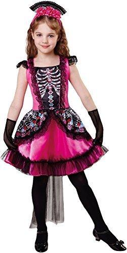 Fancy me ragazze zucchero skull giorno dei morti halloween carino spaventosa costume vestito 4-12 anni - 10-12 years
