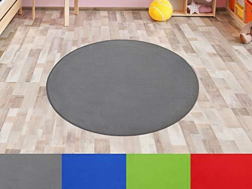 Primaflor - Ideen in Textil Kinderteppich SITZKREIS Grau Rund 100 cm, Kurzflor Kinderzimmerteppich Spielteppich Teppich für Kinder