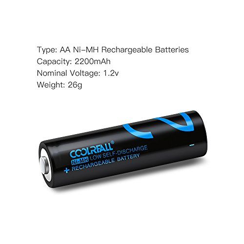 Batterie-RicaricabiliCoolreall-Pile-Ricaricabili-AA-Ni-MH2200mAh12V-Confezione-da-4-Pezzi
