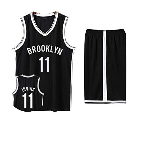 Herren Basketball Trikot # 11 Kyrie Irving Professionelle Basketballuniform, Brooklyn Nets Basketball Set, 3XS-5XL-black-XXXL