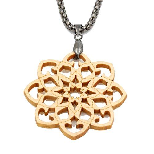 Mandala - Holzanhänger - Amulett Zirbe (Kiefer) - helles Holz - mit Halskette 77 cm -