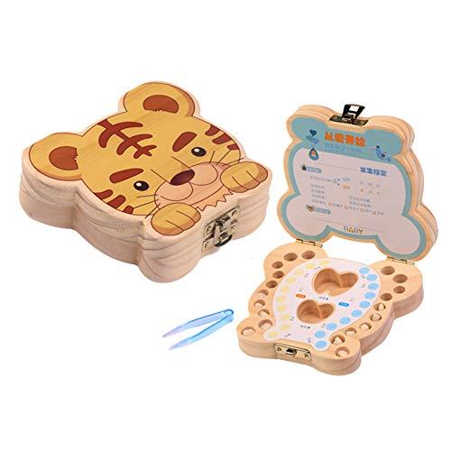 Mr.LQ Baby Tooth Fairy Box aus Holz erste Zahn und Lanugo Keepsake Organizer Speicher-Speicher-Boxen -