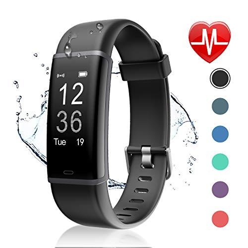 Letsfit Fitness Tracker mit Pulsmesser Fitness Armband Wasserdicht IP67 Schrittzähler Uhr Pulsuhren Smart Armband Uhr Aktivitätstracker mit Schlaf Monitor Kompatibel mit Android iOS Smartphone - Jungen Für Iphone Blau 4 Fall