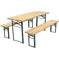 Set Bierzeltgarnitur Tisch + 2Bänke A 3Beine cm. 220x 80–46641