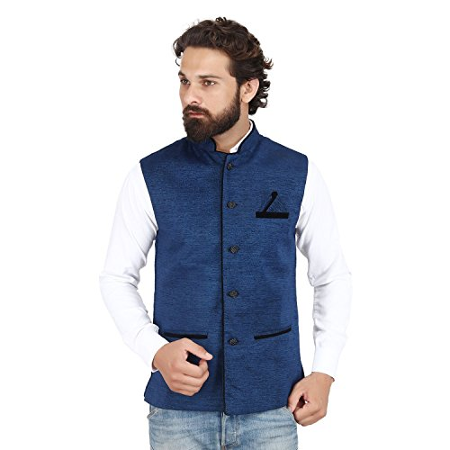Akaas_Men's Cotton Blend Nehru and Modi Navy Blue Jacket Ethnic Style For...