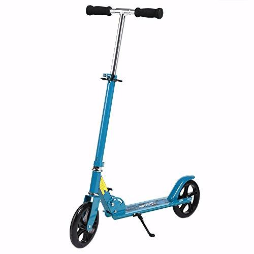 AMDirect Scooter Adulte Trottinette de Ville 200mm Roues Roller Pliable et Réglable en Hauteur City-Roller Scooter pour les Enfants de 12 ans+ jusqu'à 100 kg (bleu)