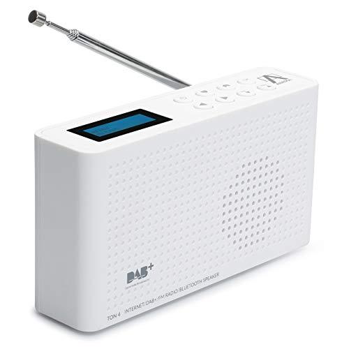 Anadol 4in1 IDR-1 Internet Radio/DAB+ / FM-UKW/Bluetooth Lautsprecher WLAN WiFi, DLNA, UPnP, tragbar, LCD-Display, Sleep-Timer, Akku, Netzbetrieb, Kopfhöreranschluss - weiß (Bluetooth Wifi Lautsprecher)