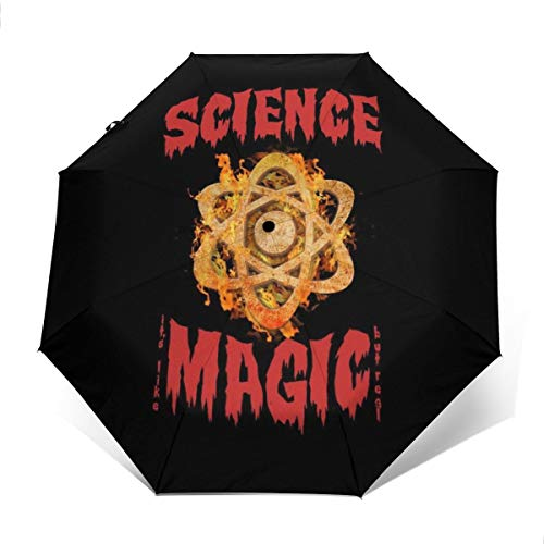 Science is Like Magic Aber Real Winddicht Kompakter Automatischer Faltschirm Faltschirm Reise-Sonnenschirm