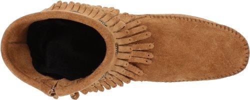 Minnetonka Double Fringe Side Zip Boot Damen Mokassin Stiefel Beige (Taupe 7T)