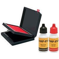 Stamp-ever deux Couleur Pad/recharge d'encre, dimensions 2–3/20,3x 10,2cm chaque, DE deux bouteilles de 15ml de recharge d'encre, Noir/rouge (6193) par Identity groupe Holdings, LLC