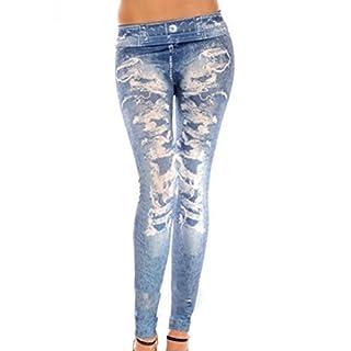 Amybria Women's Skinny Jeggings Stretchy Slim Denim Look Leggings Trousers Blue