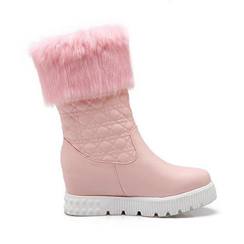 AllhqFashion Damen Rein Mittler Absatz Rund Zehe Pu Ziehen Auf Stiefel Pink