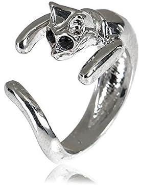 SiAura Material ® - Offener Ring Katze, Innendurchmesser 18,1 mm, Antiksilber Strass, Mädchen Damen Geschenk