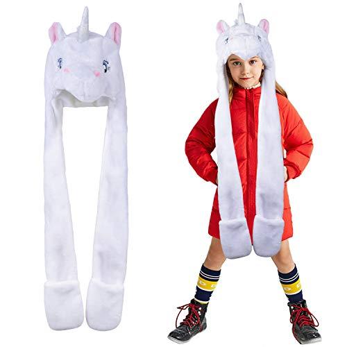 Fascigirl KinderHoodie Hut, Hoodie Hut Schal Einhorn Taschen Hut Karikatur PlüSch Hut füR KostüM - Una Das Weiße Einhorn Kind Hoodie Kostüm