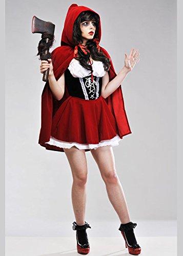 Rotkäppchen Gothic Damen Erwachsene Kostüme (Damen Halloween Gothic Rotkäppchen Kostüm S (UK)