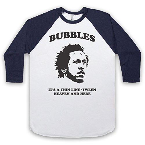 Inspiriert durch The Wire Bubbles Thin Line 'Tween Heaven And Here Unofficial 3/4 Hulse Retro Baseball T-Shirt Weis & Ultramarinblau