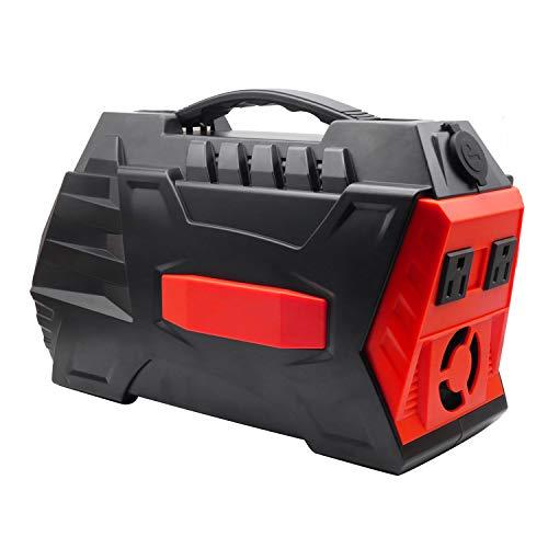 500W/296Wh Generatore Portatile Di Continuità Alimentatore Inverter Sinusoidale Puro Con Doppia Presa 110-240V AC E 4 Porte USB Per Il Campeggio E All'interno,Red