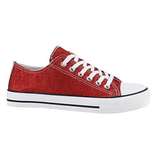 stiefelparadies Glänzende Damen Sneakers Glitzer Metallic Sneaker Low Pailletten Flats Turn Leder-Optik Schuhe 137950 Rot Rot Glitzer 37 Flandell
