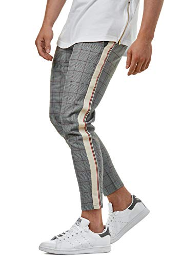 Herren Karo Pants Karierte Stoffhose Grau 7/8 Beinlänge Slim Fit Trend BR2002, Farbe:Grau, Hosengröße:W32 L32