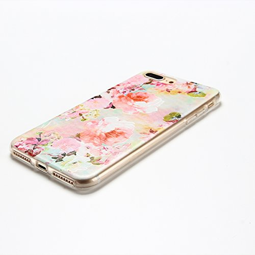 iphone 7 Plus Hülle, E-Lush Mode Muster TPU Hülle für iphone 7 Plus (5.5 Zoll) [Kratzfeste, Scratch-Resistant] Weiche Flexible Silikon Handyhülle Clear Transparent Tasche Ultra Dünne Schutzhülle Durch Rosa Rosen