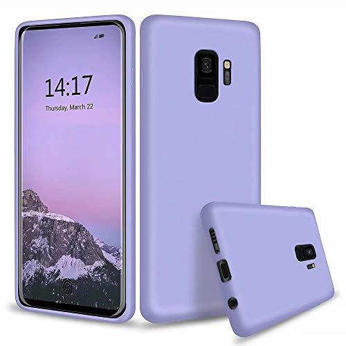 MUTOUREN Kompatibel mit Samsung Galaxy S9 Hülle TPU Flüssig Silikon Kratzfeste Schutzhülle mit stoßsicheres Futter aus Mikrofaser rutschfeste Handyhülle Schale Bumper Case, Lila