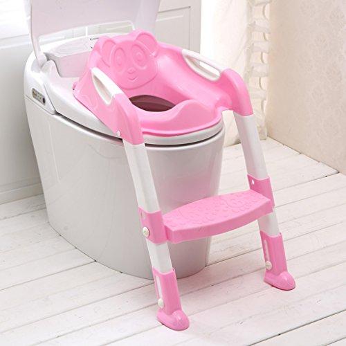 LI JING SHOP - Faltung Toilettenleiter WC Sitzhocker Rutschfeste Unterseite für junge Mädchen PP Material 37X59cm Farbe: Blau, Rosa ( Farbe : Pink )