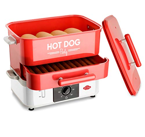 HOT DOG WORLD - Großer Party Hot Dog Maker, Hot Dog Steamer, Hot Dog Dampfgarer