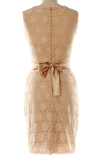 MACloth Women High Neck Short Lace Bridesmaid Dress Cocktail Formal Party Gown Silber