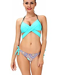 SAYFUT Women Floral Bikini Set Bowknot Slim Bandage Top Push Up Strappy Swimwear Brazilian Two Piece Swimsuit Summer Polyester Beachwear S-XL
