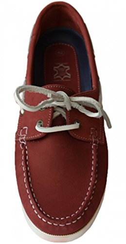 Beverly Originals Herren Leder Bootsschuh Men's Casual Skipper, Farbe:rot;Größe:45