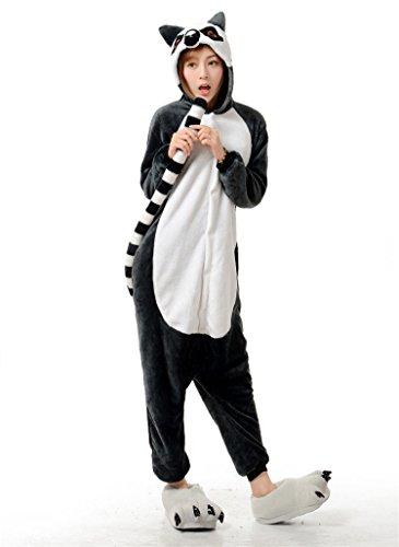 Unisex Waschbär Pferd Kuh Känguru Schlange Lemur Fledermaus Onesie Kigurumi Pyjama Karneval Kostüm Maskenkostüm Kapuzenpulli Schlafanzüge Ring-Tailed Lemur, L(Height - Ring Tailed Lemur Kostüm