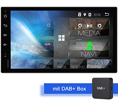 Tristan Auron BT2D7018A Android 9.0 Autoradio mit Navi + DAB+ Box I 7\'\' Touchscreen Bildschirm I GPS I Bluetooth Freisprecheinrichtung I Quad Core USB SD OBD 2-2 DIN