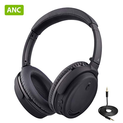 Avantree ANC032 Bluetooth 4.1 Active Noise Cancelling Kopfhörer mit Mikrofon, Wireless Wired Superleicht Komfortabel Klappbar Stereo ANC Over Ear Headset für Handys PC TV thumbnail