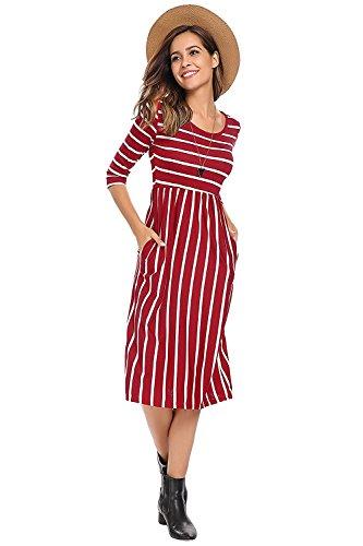 ELFIN Damen Gestreiftes 3/4 Arm Sommerkleid Strandkleid Rundhals High Waist Striped Beach Kleid Midikleider Cocktail Partykleid Chiffonkleid Rot