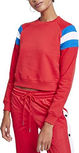 Urban Classics Damen Ladies Sleeve Stripe Crew Sweatshirt, Mehrfarbig (Firered/Brightblue/White 01556), Medium - White Classic Sweatshirt