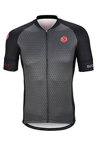 Sundried Manica Corta Mens Cycle Jersey Professionista della Bici della Strada e Mountain Bike Abbigliamento (S, Nero)
