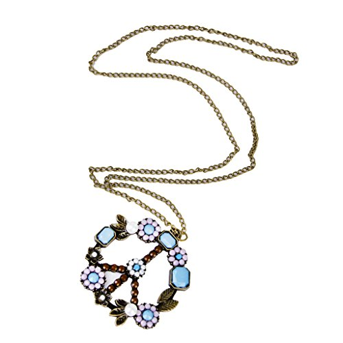 Bunte Perlen Acryl Blume Peace Symbol Anhänger Halskette Pulloverkette Schmuck